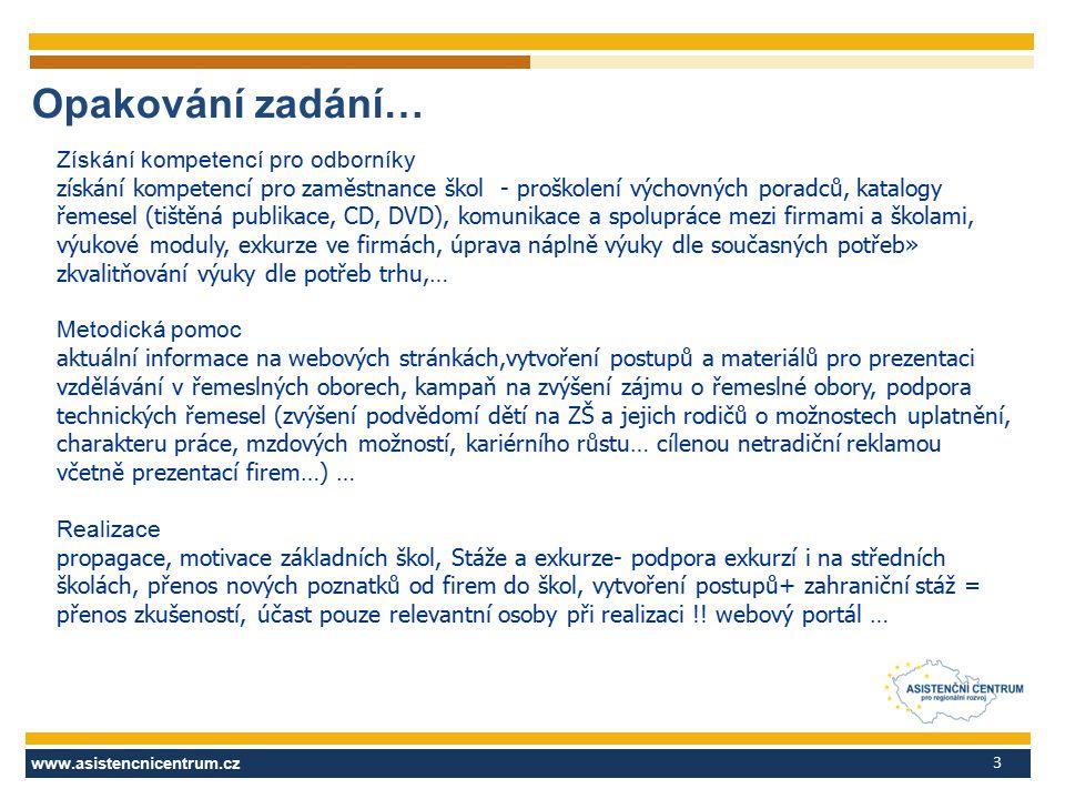 www.asistencnicentrum.cz 3 Opakování zadání… Získání kompetencí pro odborníky získání kompetencí pro zaměstnance škol - proškolení výchovných poradců,