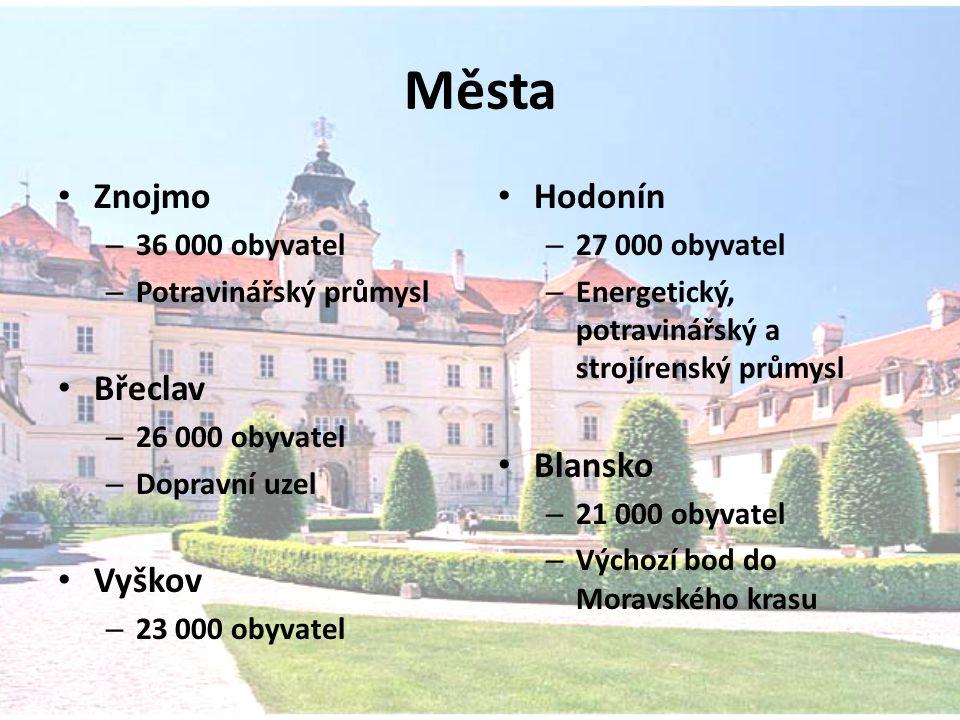 Města Znojmo – 36 000 obyvatel – Potravinářský průmysl Břeclav – 26 000 obyvatel – Dopravní uzel Vyškov – 23 000 obyvatel Hodonín – 27 000 obyvatel –