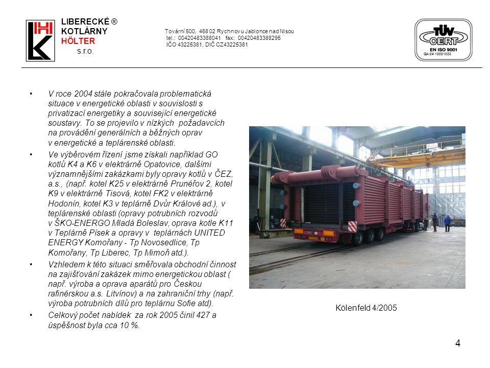 15 LIBERECKÉ KOTLÁRNY – Hölter, s.r.o.ovládaly v roce 2005 čtyři dceřiné společnosti.