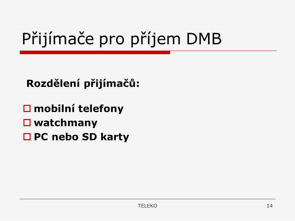 TELEKO14 Přijímače pro příjem DMB Rozdělení přijímačů:  mobilní telefony  watchmany  PC nebo SD karty