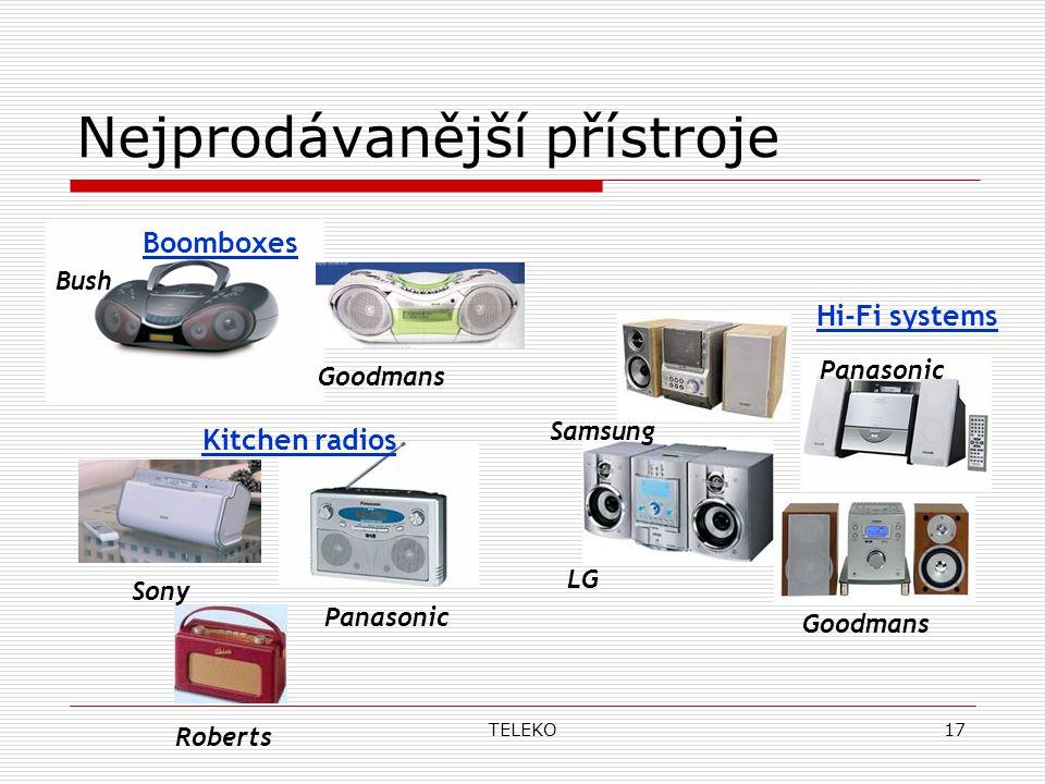 TELEKO17 Nejprodávanější přístroje Boomboxes Goodmans Bush Hi-Fi systems Samsung LG Panasonic Goodmans Panasonic Sony Roberts Kitchen radios