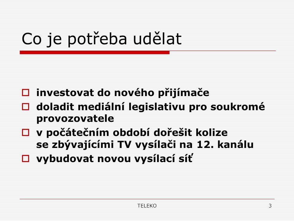 TELEKO3 Co je potřeba udělat  investovat do nového přijímače  doladit mediální legislativu pro soukromé provozovatele  v počátečním období dořešit kolize se zbývajícími TV vysílači na 12.