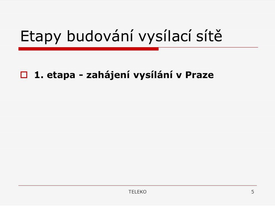 TELEKO5 Etapy budování vysílací sítě  1. etapa - zahájení vysílání v Praze