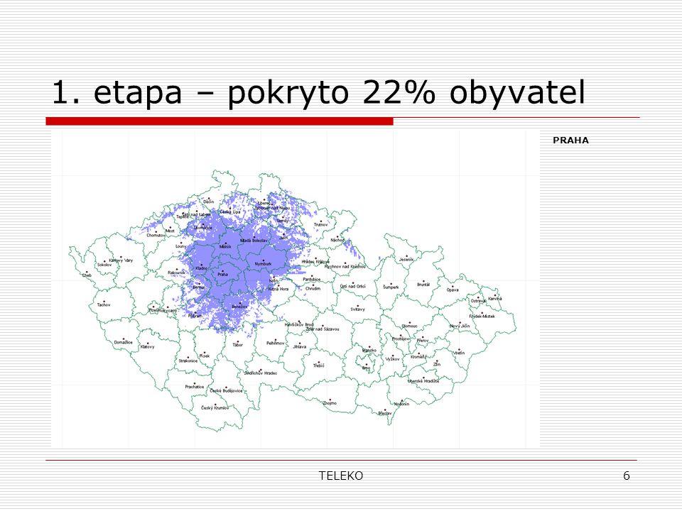 TELEKO6 1. etapa – pokryto 22% obyvatel PRAHA