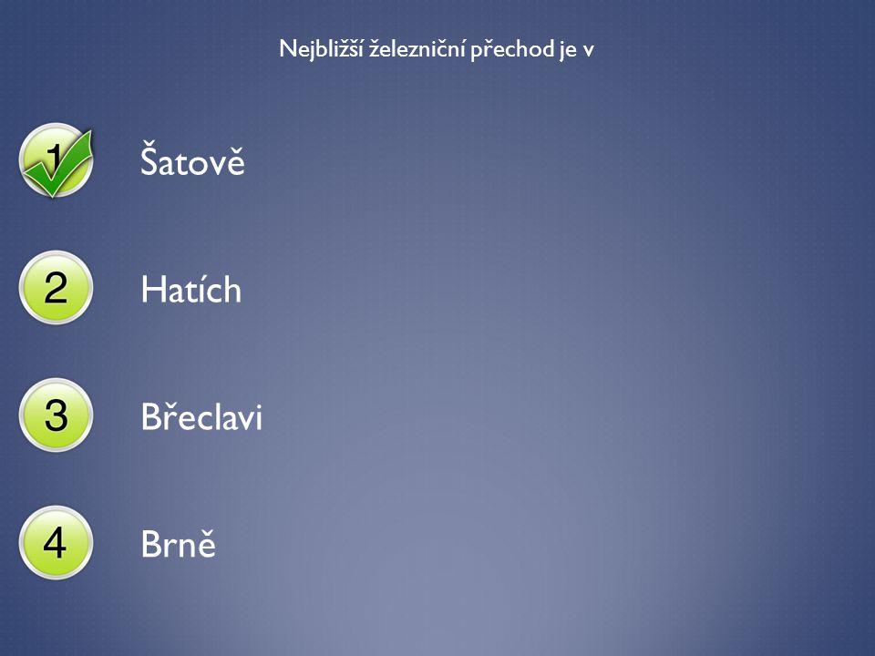 Nejbližší železniční přechod je v Šatově Hatích Břeclavi Brně