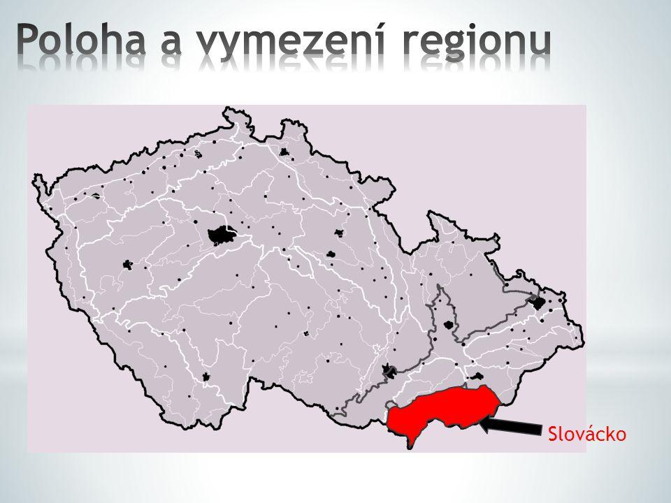 Slovácko = zastarale Moravské Slovensko či Moravské Slovácko národopisná oblast jižní a jihovýchodní Moravy JV od Brna přirozené hranice Slovácka tvoří na severu a SZ Ždánický les a Chřiby, na JV hřeben Bílých Karpat, na moravsko-slovenském pomezí a na jihu tok řeky Dyje zahrnuje okresy Hodonín a Uherské Hradiště, zasahuje také do okresů Zlín a Břeclav