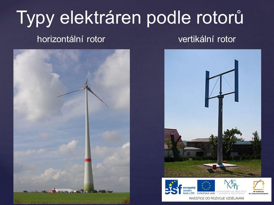 Typy elektráren podle rotorů vertikální rotorhorizontální rotor