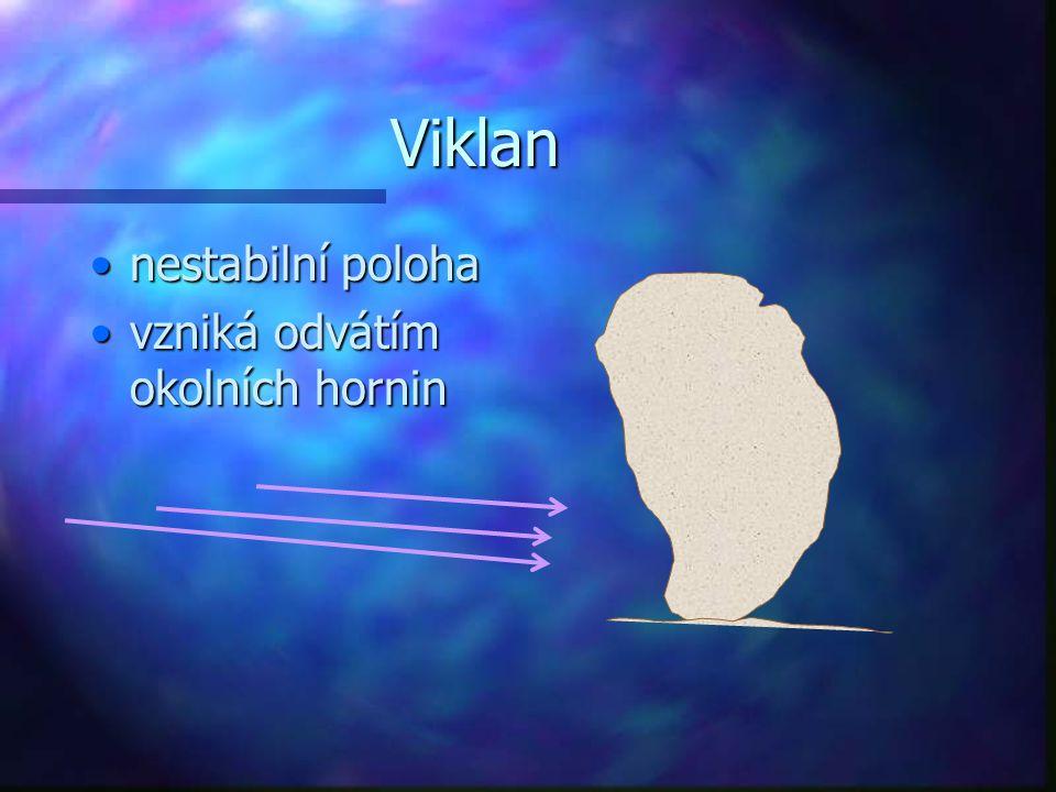 Viklan nestabilní polohanestabilní poloha vzniká odvátím okolních horninvzniká odvátím okolních hornin