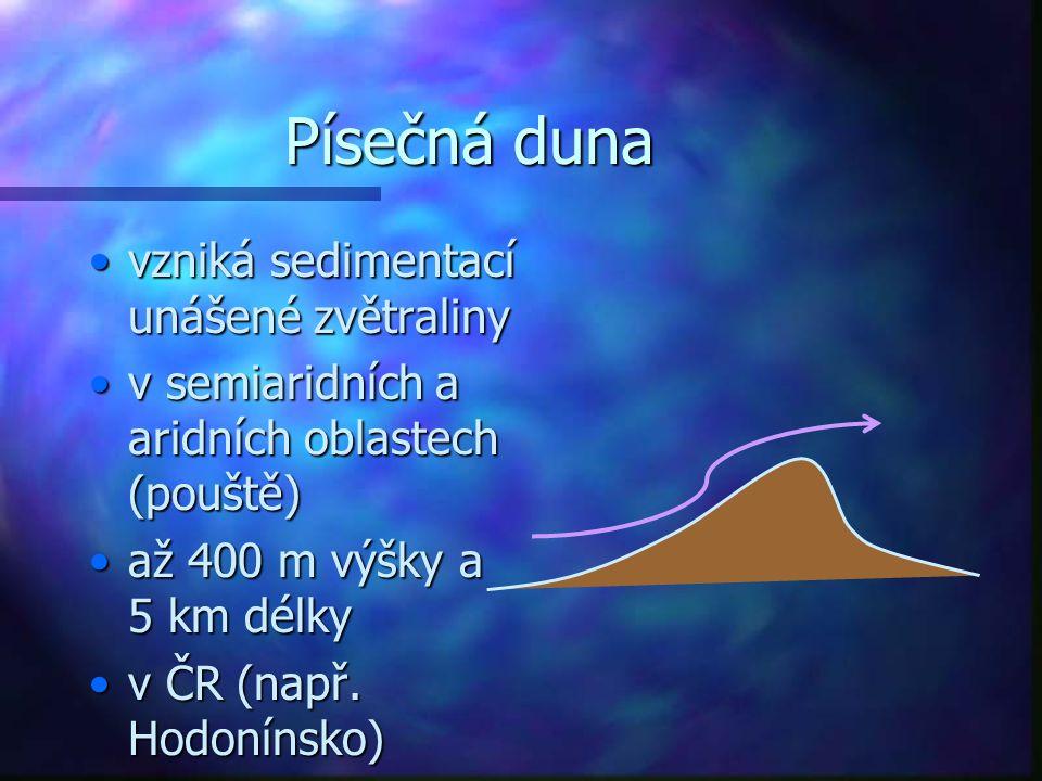 Písečná duna vzniká sedimentací unášené zvětralinyvzniká sedimentací unášené zvětraliny v semiaridních a aridních oblastech (pouště)v semiaridních a a