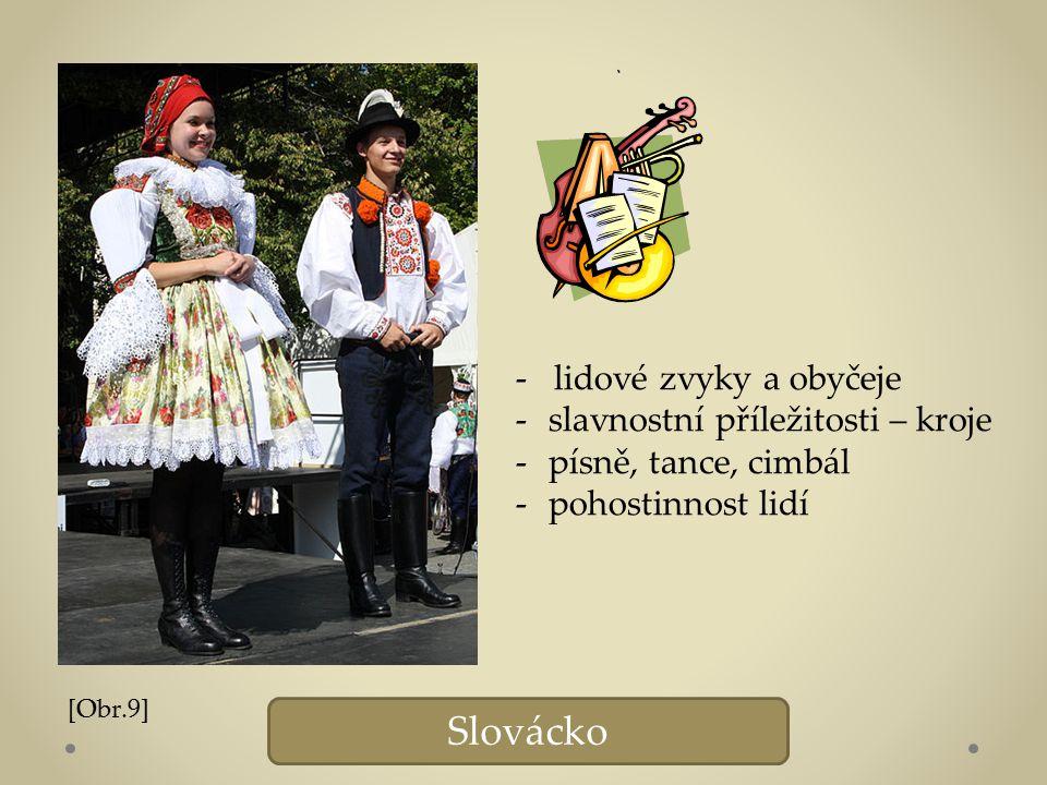 Slovácko - lidové zvyky a obyčeje -slavnostní příležitosti – kroje -písně, tance, cimbál -pohostinnost lidí [Obr.9]