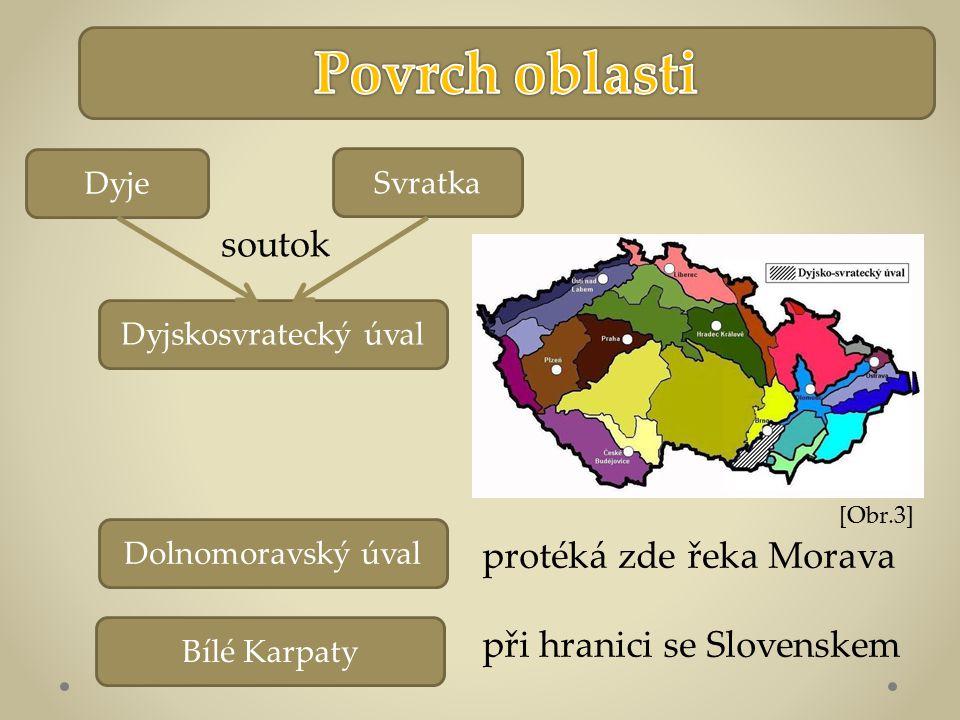 Dolnomoravský úval Dyjskosvratecký úval Bílé Karpaty Svratka Dyje soutok protéká zde řeka Morava při hranici se Slovenskem [Obr.3]