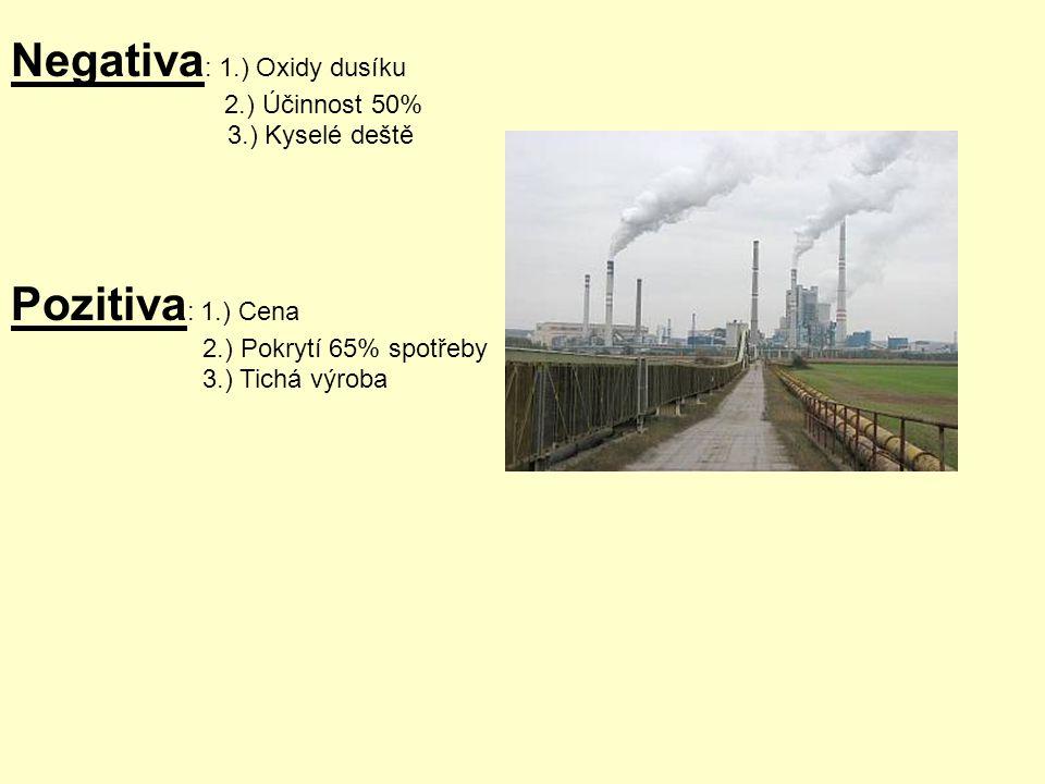 Negativa : 1.) Oxidy dusíku 2.) Účinnost 50% 3.) Kyselé deště Pozitiva : 1.) Cena 2.) Pokrytí 65% spotřeby 3.) Tichá výroba