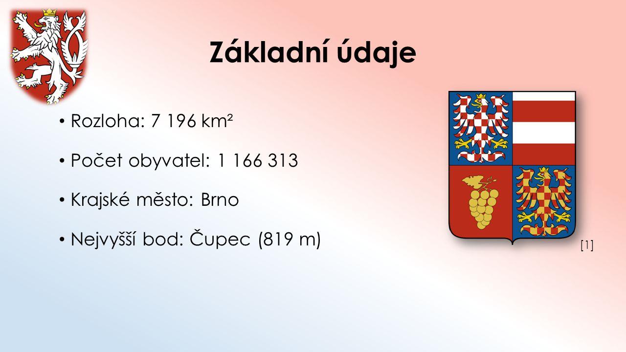 Základní údaje Rozloha: 7 196 km² Počet obyvatel: 1 166 313 Krajské město: Brno Nejvyšší bod: Čupec (819 m) [1][1]