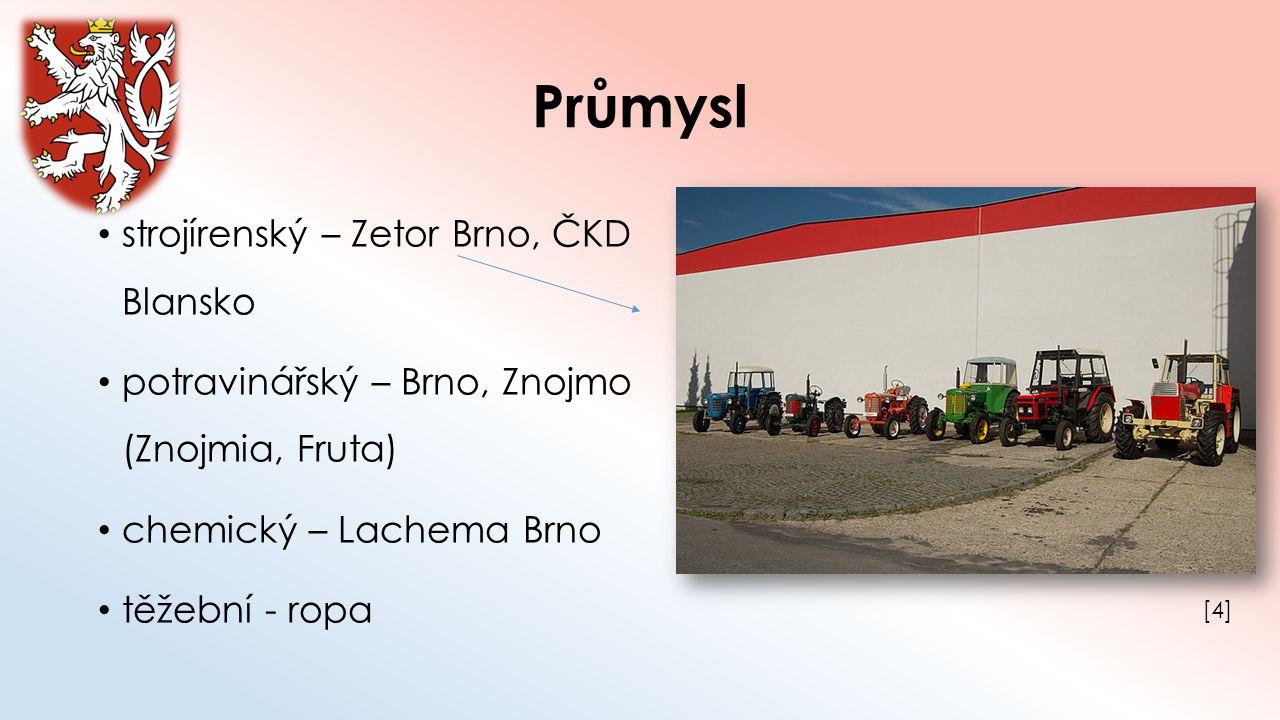 Průmysl strojírenský – Zetor Brno, ČKD Blansko potravinářský – Brno, Znojmo (Znojmia, Fruta) chemický – Lachema Brno těžební - ropa [4][4]