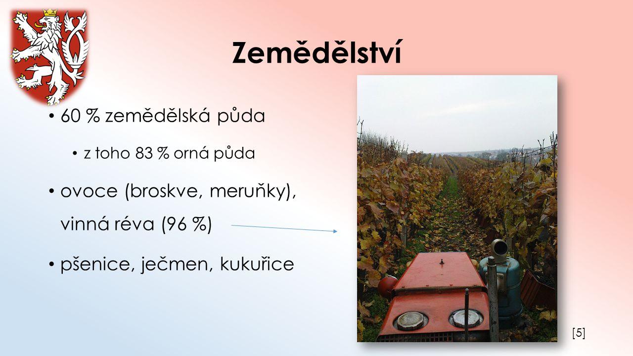 Zemědělství 60 % zemědělská půda z toho 83 % orná půda ovoce (broskve, meruňky), vinná réva (96 %) pšenice, ječmen, kukuřice [5][5]