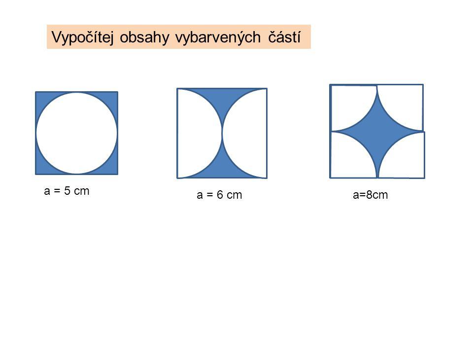 A B C Vypočítej obsah barevné části Trojúhelník ABC je rovnostranný a = 14 cm Řešení: 1.Nejprve vypočítej obsah trojúhelníku (pomocí Pythagorovy věty vypočítej výšku trojúhelníku) 2.Vnitřní úhly v trojúhelníku jsou 60° 3.Tři části kruhů nad vrcholy 3.
