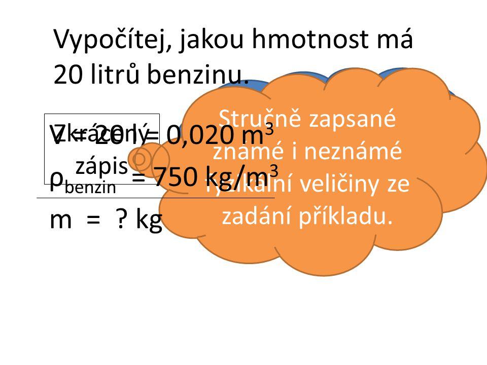 Zkrácený zápis Co to je? Stručně zapsané známé i neznámé fyzikální veličiny ze zadání příkladu. m = ? kg V = 20 l = 0,020 m 3 ρ benzin = 750 kg/m 3 Vy
