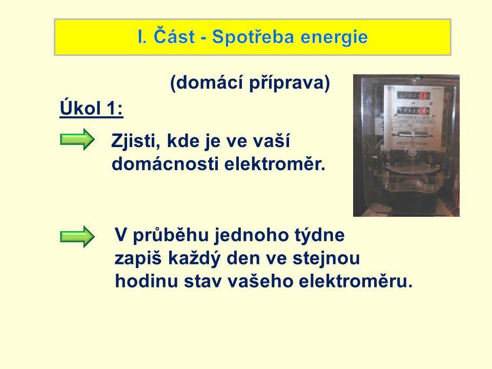 Zjisti, kde je ve vaší domácnosti elektroměr. V průběhu jednoho týdne zapiš každý den ve stejnou hodinu stav vašeho elektroměru. (domácí příprava) Úko