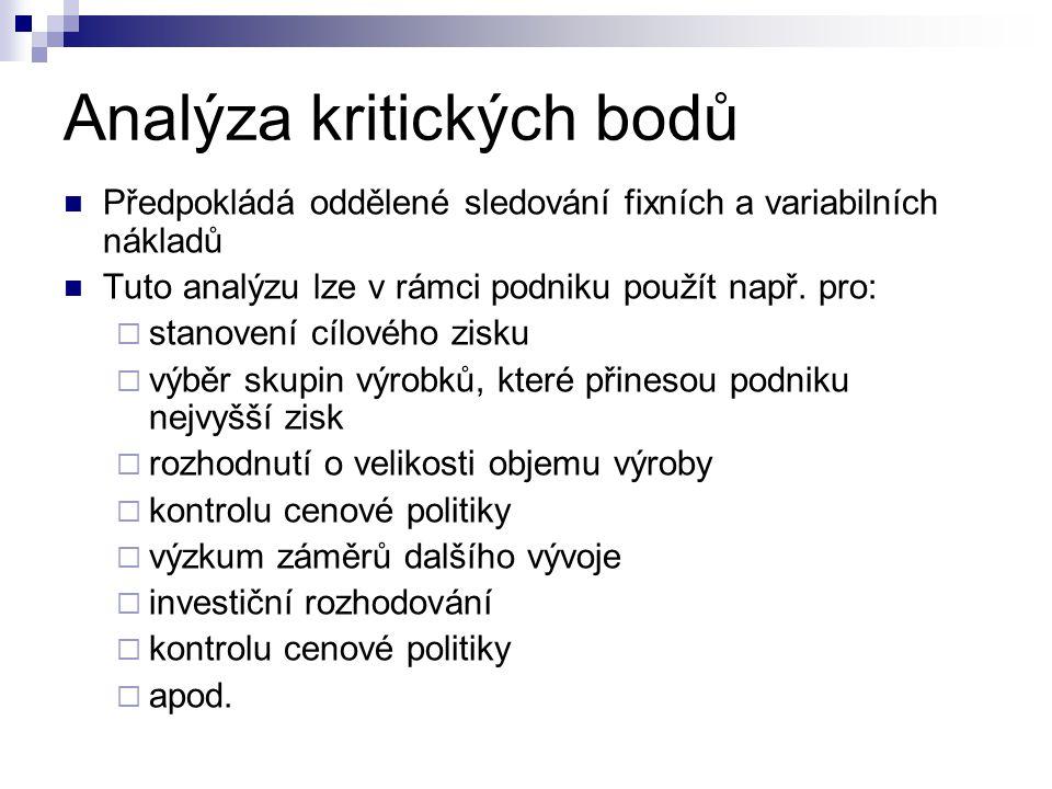 Analýza kritických bodů Předpokládá oddělené sledování fixních a variabilních nákladů Tuto analýzu lze v rámci podniku použít např. pro:  stanovení c