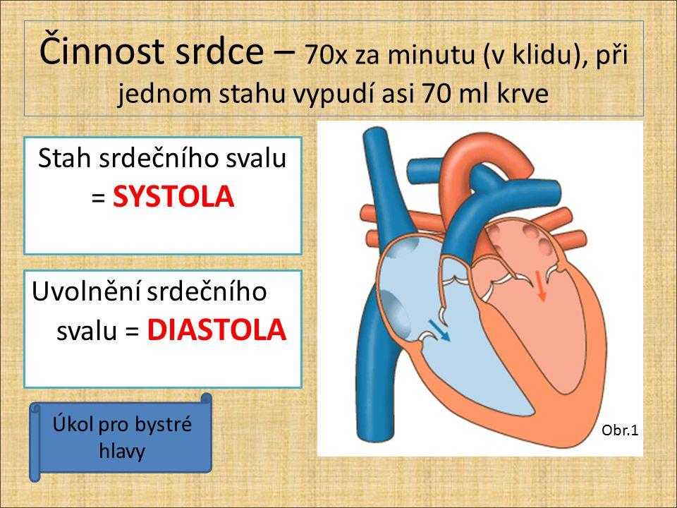 Činnost srdce – 70x za minutu (v klidu), při jednom stahu vypudí asi 70 ml krve Obr.1 Úkol pro bystré hlavy Stah srdečního svalu = SYSTOLA Uvolnění sr