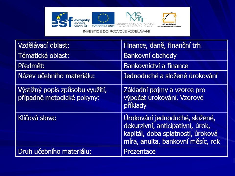 Vzdělávací oblast:Finance, daně, finanční trh Tématická oblast:Bankovní obchody Předmět:Bankovnictví a finance Název učebního materiálu:Jednoduché a s