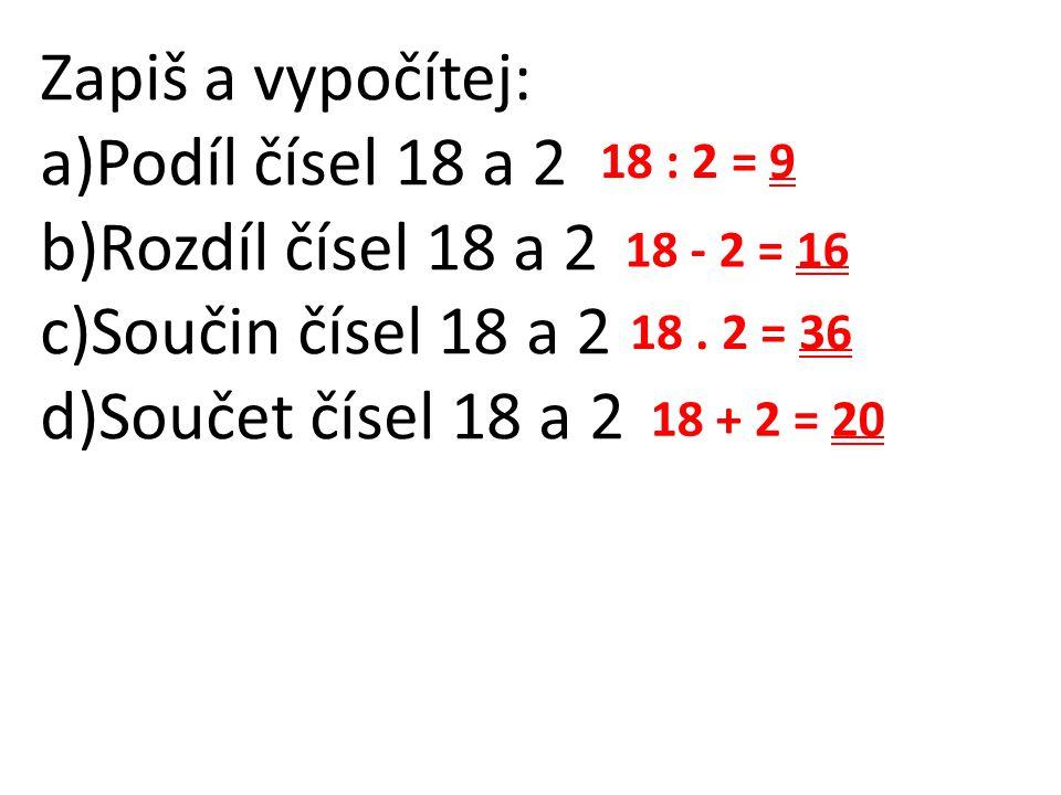 Zapiš a vypočítej: a)Podíl čísel 18 a 2 b)Rozdíl čísel 18 a 2 c)Součin čísel 18 a 2 d)Součet čísel 18 a 2 18 : 2 = 9 18 - 2 = 16 18. 2 = 36 18 + 2 = 2