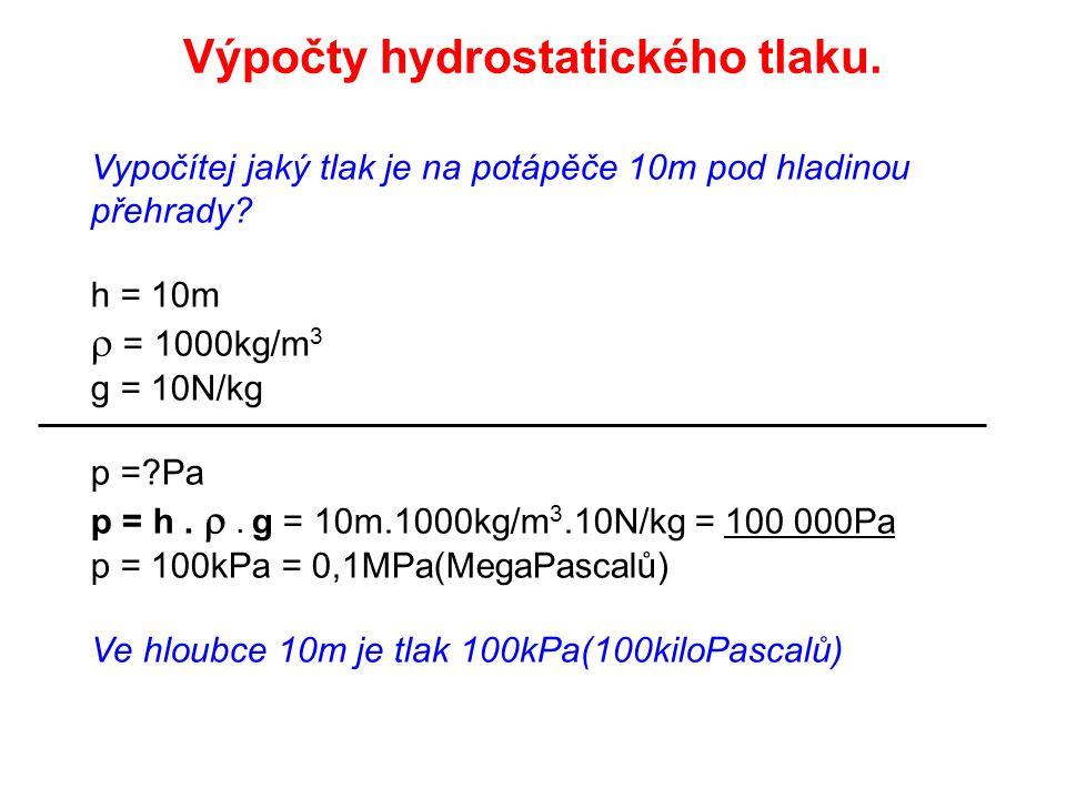 Vypočítej jaký tlak je na potápěče 10m pod hladinou přehrady.