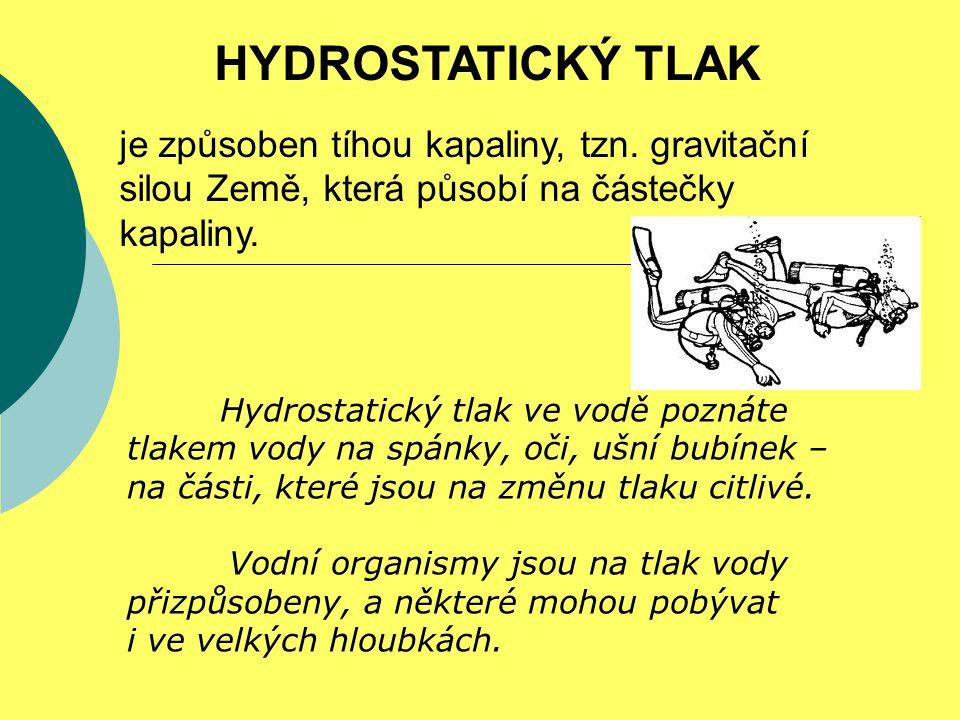HYDROSTATICKÝ TLAK je způsoben tíhou kapaliny, tzn. gravitační silou Země, která působí na částečky kapaliny. Hydrostatický tlak ve vodě poznáte tlake