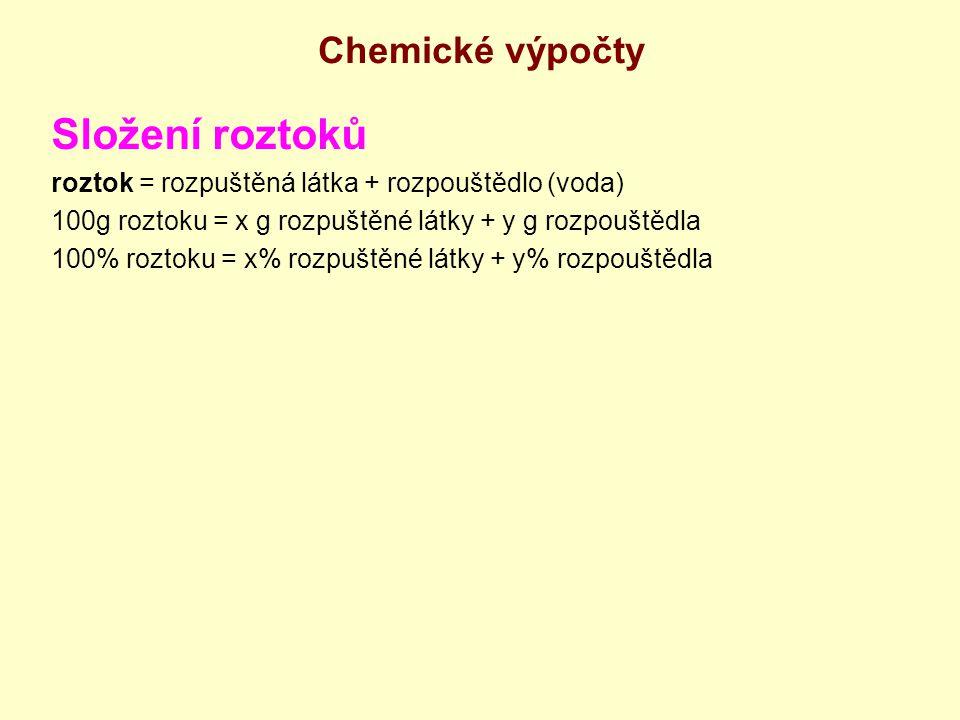 Chemické výpočty Složení roztoků roztok = rozpuštěná látka + rozpouštědlo (voda) 100g roztoku = x g rozpuštěné látky + y g rozpouštědla 100% roztoku =
