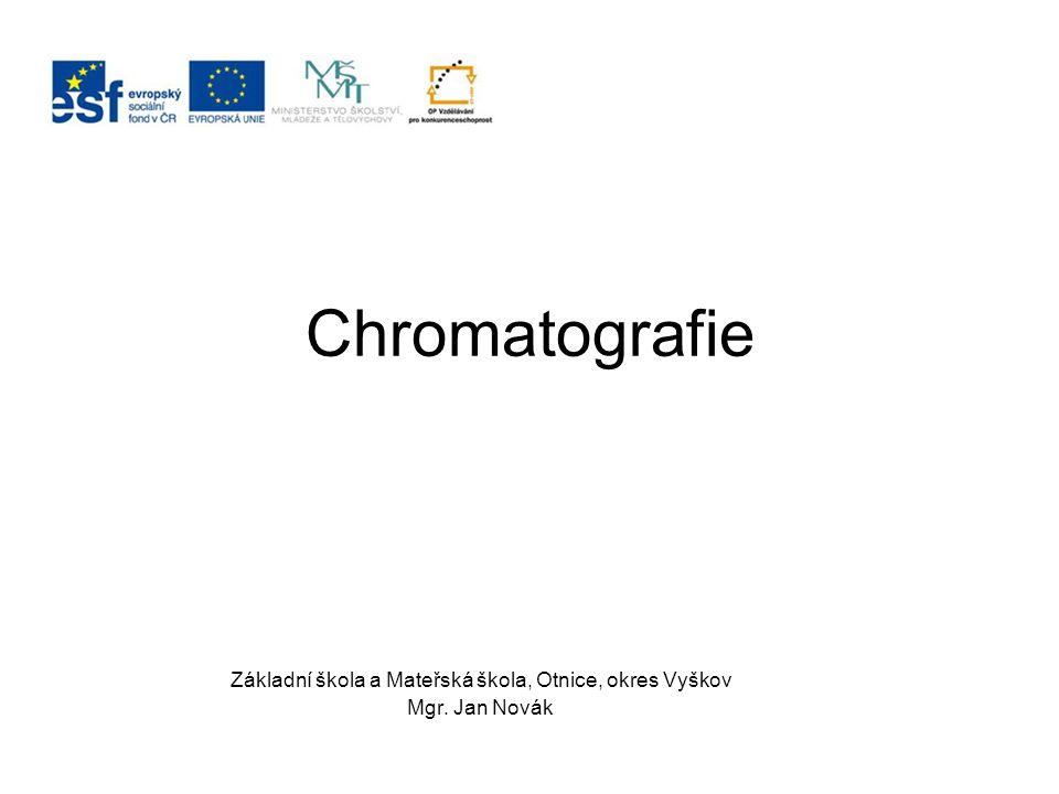 Motivace Chromatografie je metoda oddělování složek směsí.
