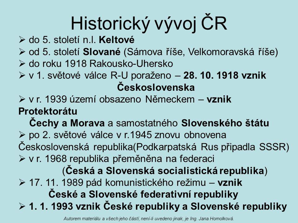 Historický vývoj ČR  do 5. století n.l. Keltové  od 5. století Slované (Sámova říše, Velkomoravská říše)  do roku 1918 Rakousko-Uhersko  v 1. svět