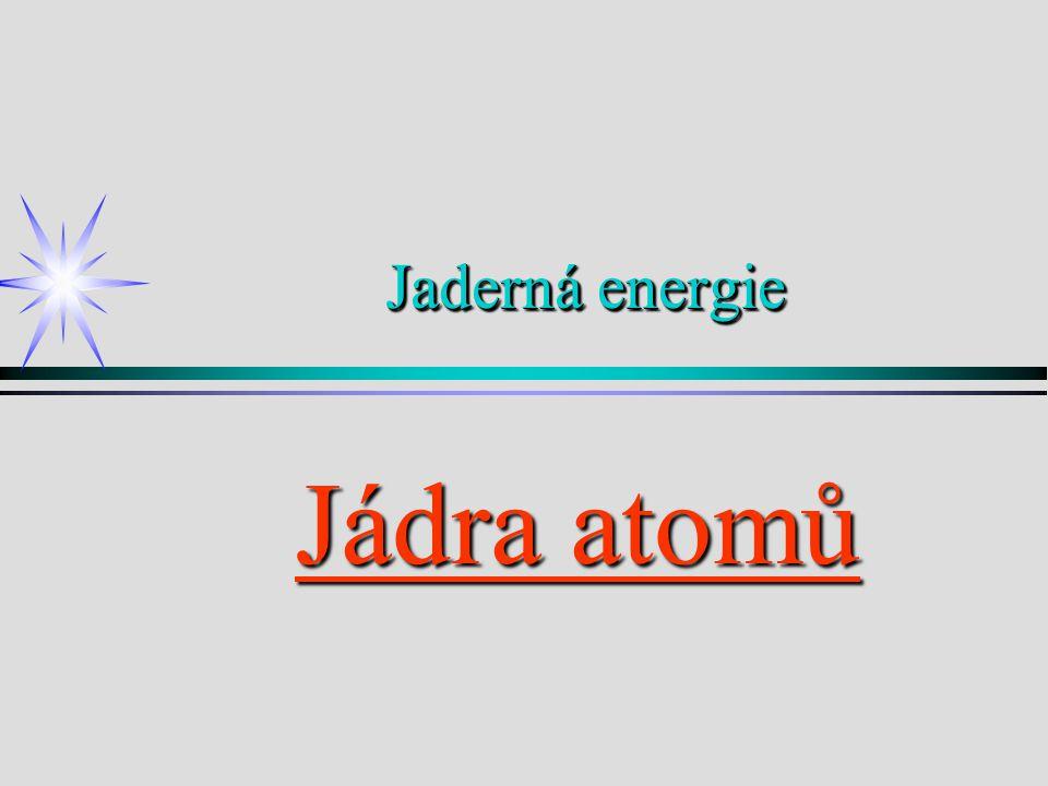 Jaderná energie Jádra atomů