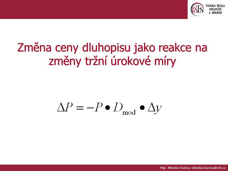 Změna ceny dluhopisu jako reakce na změny tržní úrokové míry Mgr. Miroslav Kučera; miroslav.kucera@vsfs.cz