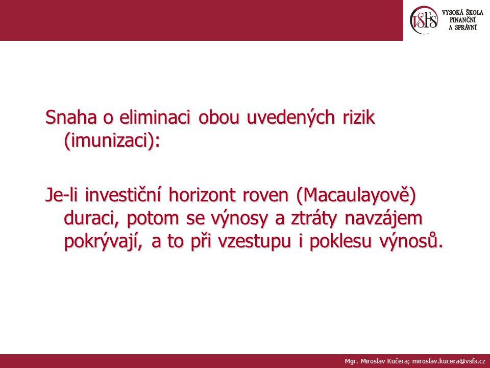 Mgr. Miroslav Kučera; miroslav.kucera@vsfs.cz Snaha o eliminaci obou uvedených rizik (imunizaci): Je-li investiční horizont roven (Macaulayově) duraci