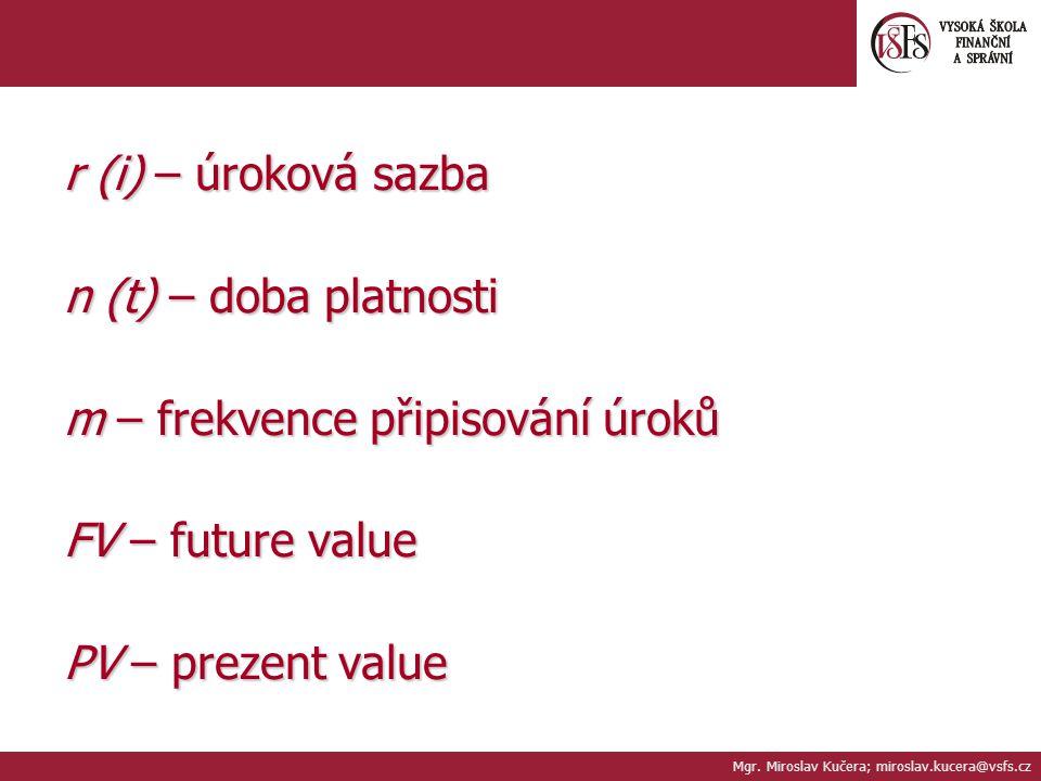 r (i) – úroková sazba n (t) – doba platnosti m – frekvence připisování úroků FV – future value PV – prezent value Mgr. Miroslav Kučera; miroslav.kucer