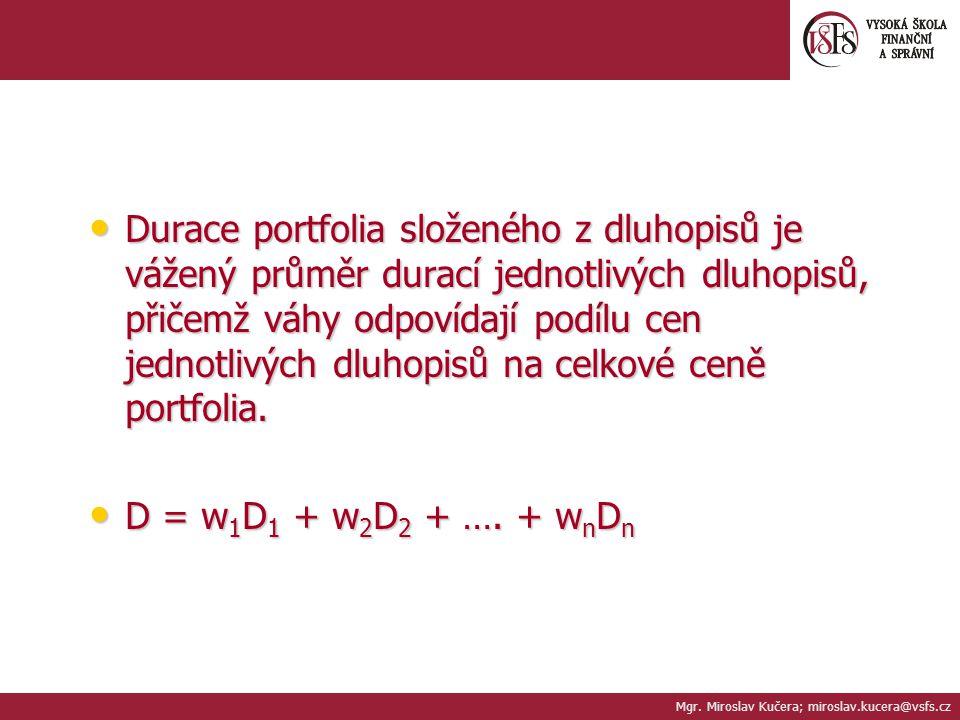 Mgr. Miroslav Kučera; miroslav.kucera@vsfs.cz Durace portfolia složeného z dluhopisů je vážený průměr durací jednotlivých dluhopisů, přičemž váhy odpo
