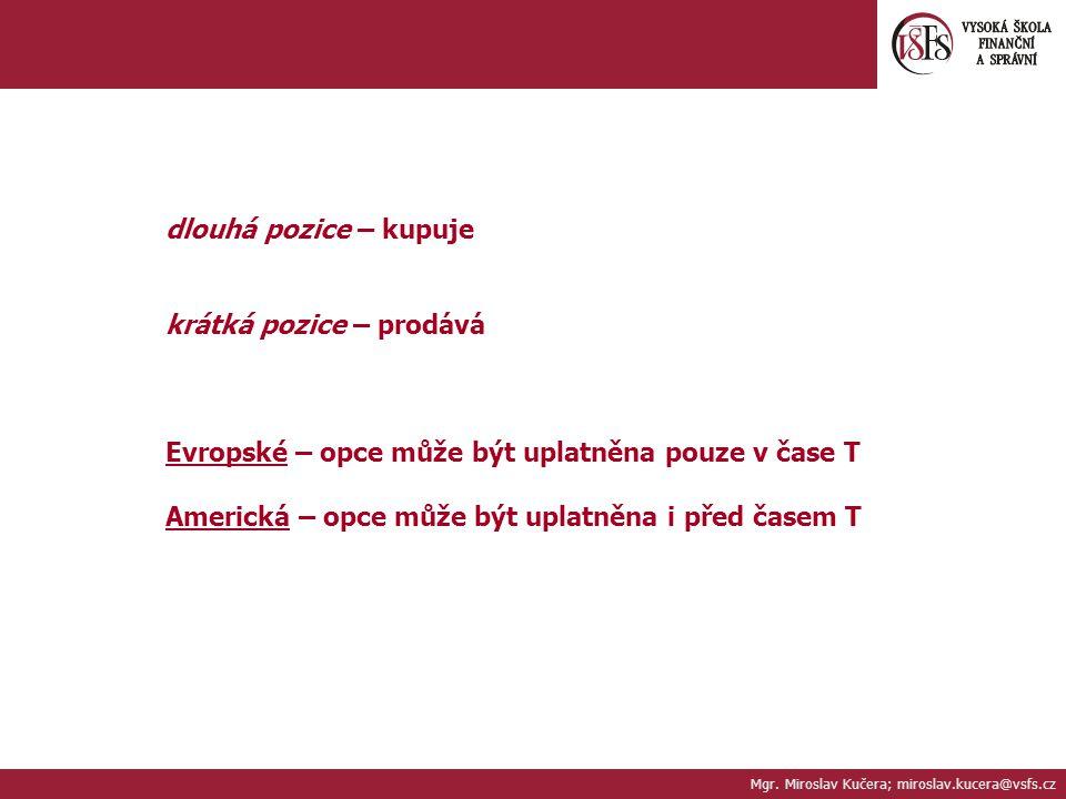 Mgr. Miroslav Kučera; miroslav.kucera@vsfs.cz dlouhá pozice – kupuje krátká pozice – prodává Evropské – opce může být uplatněna pouze v čase T Americk
