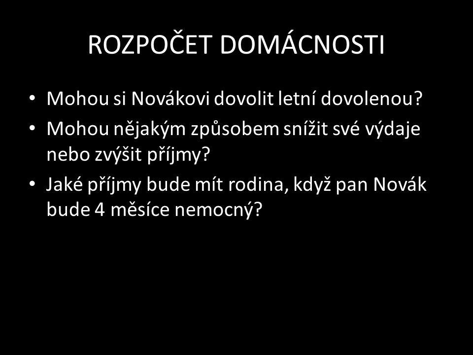 ROZPOČET DOMÁCNOSTI Mohou si Novákovi dovolit letní dovolenou.