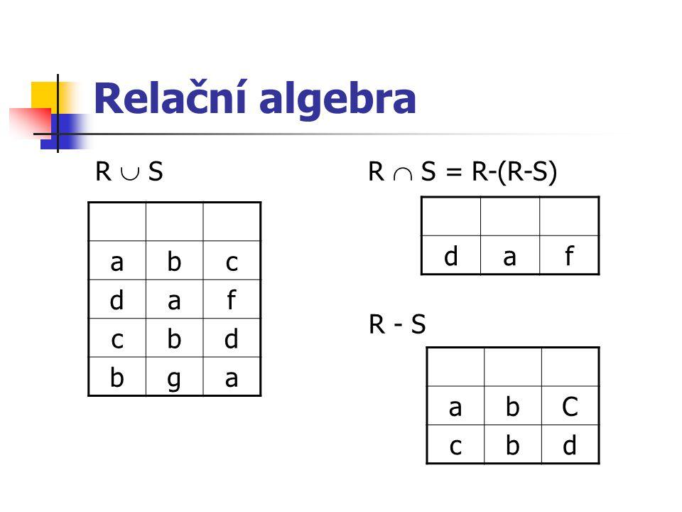 Relační algebra R  SR  S = R-(R-S) R - S daf abc daf cbd bga abC cbd