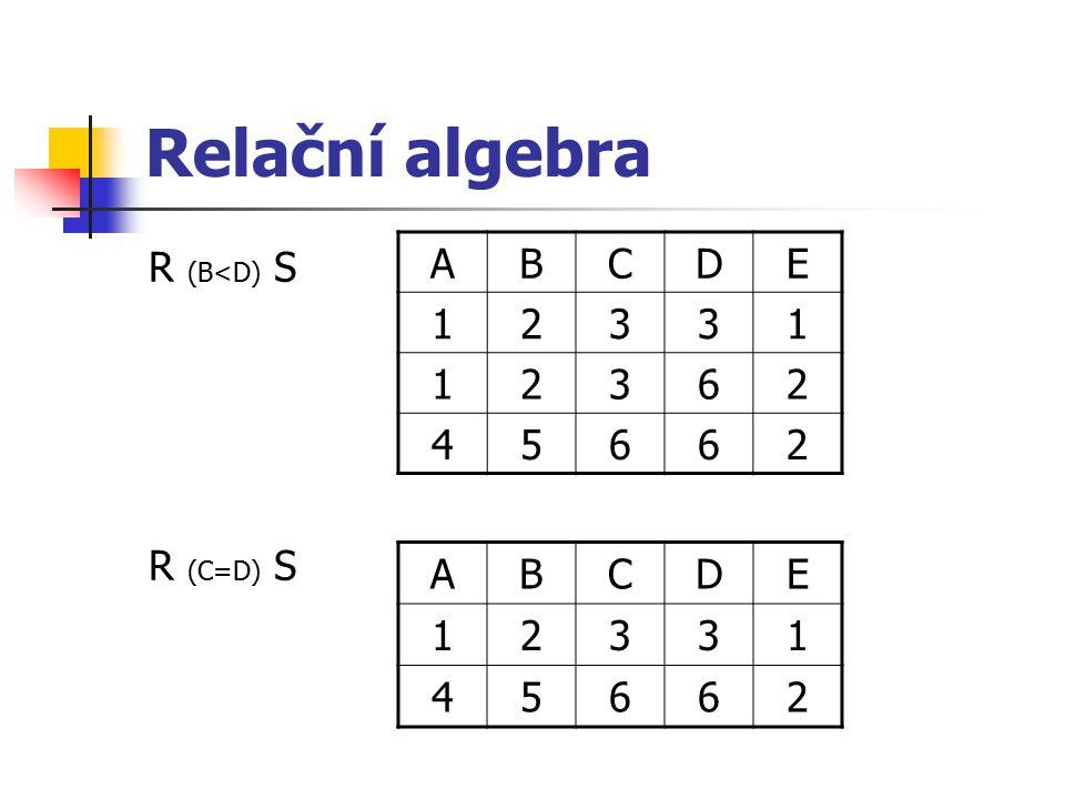 Relační algebra R (B<D) S R (C=D) S ABCDE 12331 12362 45662 ABCDE 12331 45662