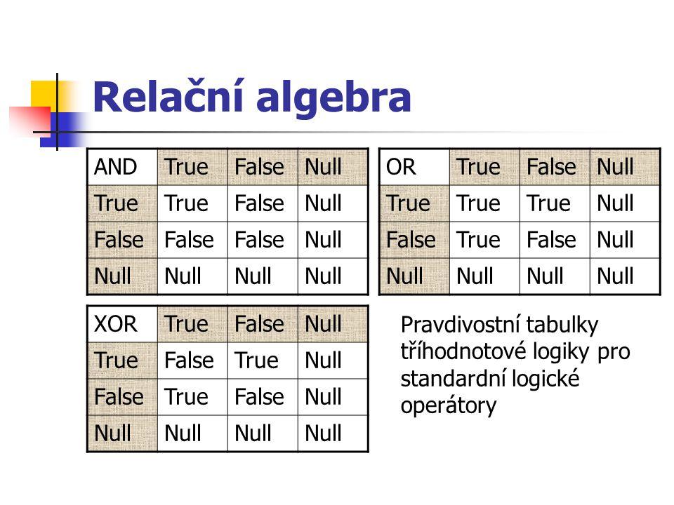 Relační algebra ANDTrueFalseNull True FalseNull False Null ORTrueFalseNull True Null FalseTrueFalseNull XORTrueFalseNull TrueFalseTrueNull FalseTrueFa