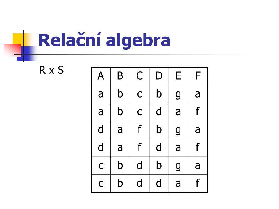 Relační algebra R x S ABCDEF abcbga abcdaf dafbga dafdaf cbdbga cbddaf