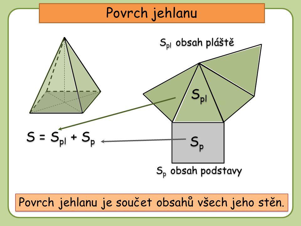 Povrch jehlanu S pl obsah pláště S p obsah podstavy Povrch jehlanu je součet obsahů všech jeho stěn. S pl SpSp SpSp S = S pl + S p