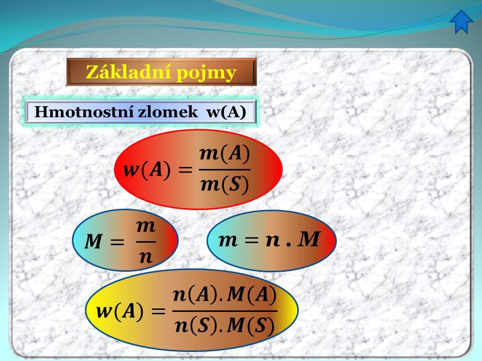 Základní pojmy Hmotnostní zlomek w(A)