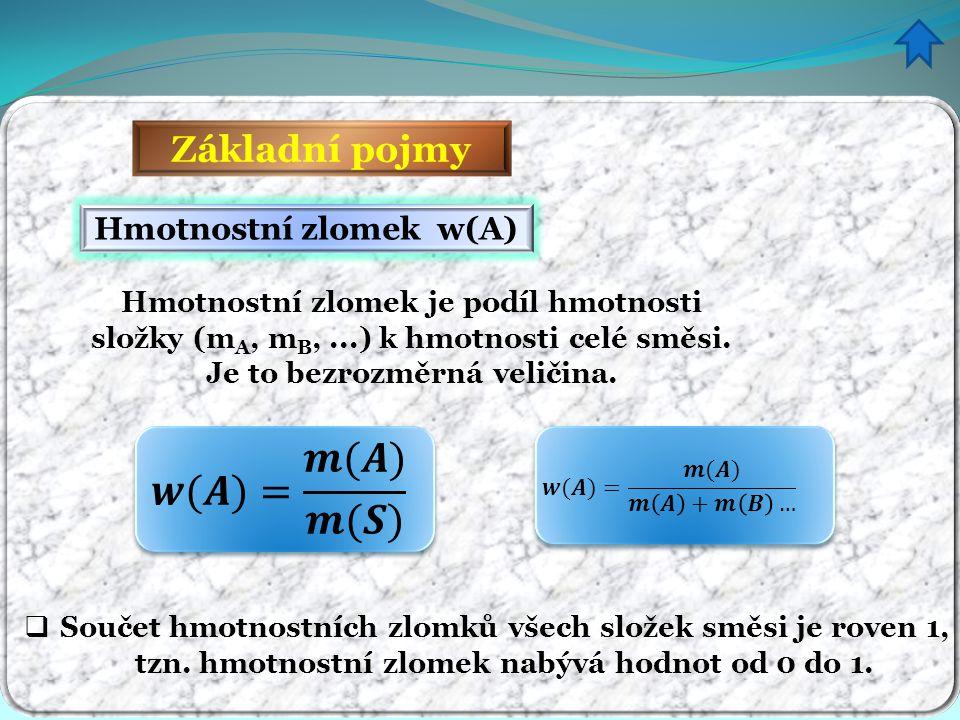Základní pojmy  Součet hmotnostních zlomků všech složek směsi je roven 1, tzn. hmotnostní zlomek nabývá hodnot od 0 do 1. Hmotnostní zlomek w(A) Hmot