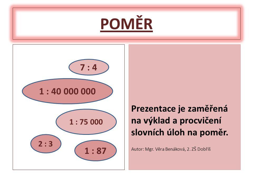 POMĚR Prezentace je zaměřená na výklad a procvičení slovních úloh na poměr.