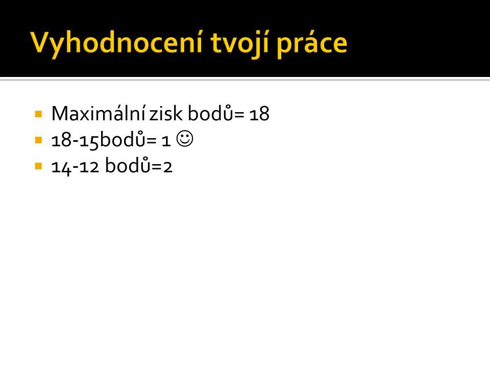  Maximální zisk bodů= 18  18-15bodů= 1  14-12 bodů=2