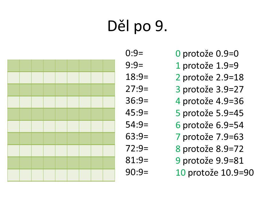 Děl po 9. 0:9= 9:9= 18:9= 27:9= 36:9= 45:9= 54:9= 63:9= 72:9= 81:9= 90:9= 0 protože 0.9=0 1 protože 1.9=9 2 protože 2.9=18 3 protože 3.9=27 4 protože