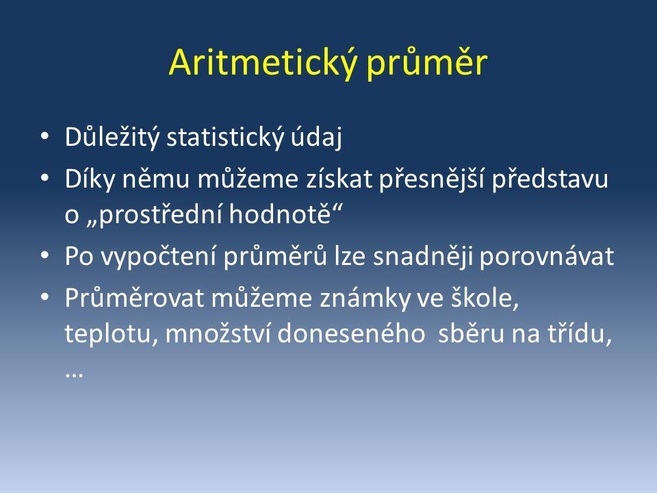 Začněme příkladem… Tomáš má v žákovské knížce tyto známky z desetiminutovek z matematiky: 1, 3, 1, 1, 2, 5, 2, 4, 3, 3 Vypočítej aritmetický průměr z těchto známek: