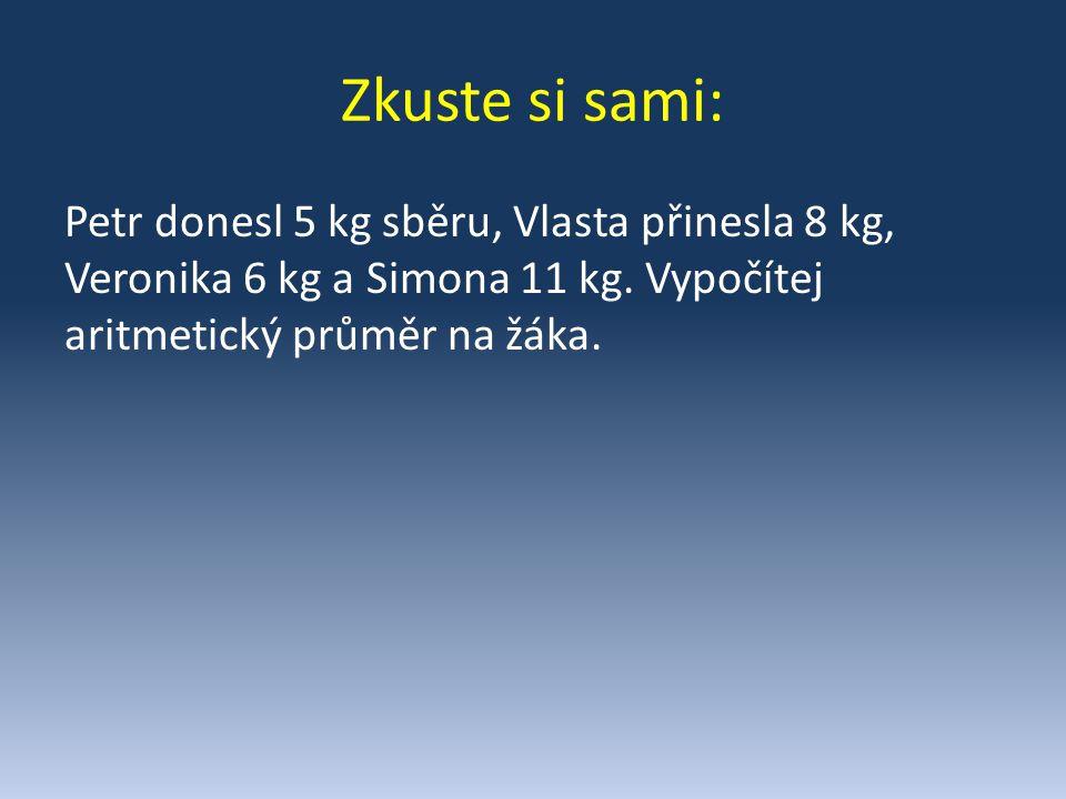 Zkuste si sami: Petr donesl 5 kg sběru, Vlasta přinesla 8 kg, Veronika 6 kg a Simona 11 kg.